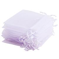 "PandaHall Elite 100 Pcs 4x3"" White Organza Drawstring Gift Pouch Wrap Favor Bag for Party Wedding"