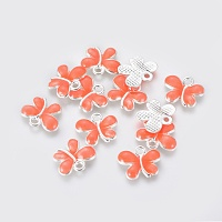 Alloy Enamel Charms, Butterfly, Silver Color Plated, Pink, 13.5x11x2.5mm, Hole: 1.5mm