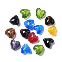 ARRICRAFT Handmade Silver Foil Glass Beads, Heart, Mixed Color, about 15mm wide, 15mm long,  hole: 1~2mm