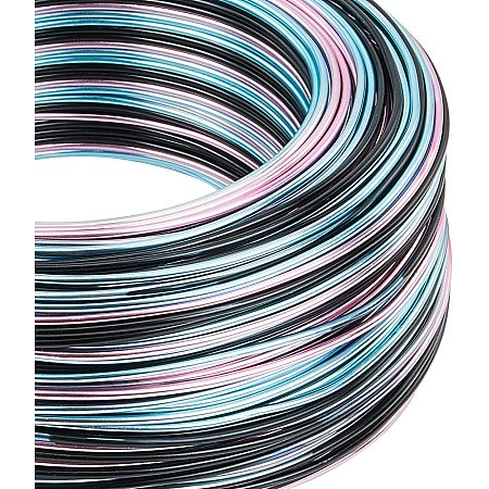 BENECREAT Multicolor Jewelry Craft Aluminum Wire (15 Gauge, 328 Feet) Bendable Metal Wire for Jewelry Beading Craft Project - Black, Pink, Blue