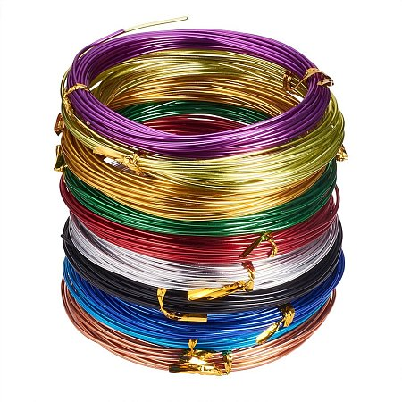 PandaHall Elite Pack of 10 Rolls 1.5mm Mixed Color Aluminum Wire Jewelry Making Beading Craft Wire 15 Gauge 19 Feet/Roll