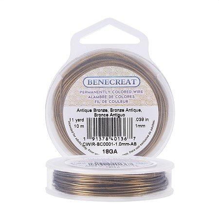 BENECREAT 18-Gauge Tarnish Resistant Antique Bronze Wire, 33-Feet/11-Yard