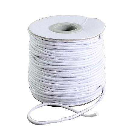 NBEADS 1.2mm 100m Round Rubber Nylon Covered Elastic Cord, Beading Crafting Stretch String for Jewelry Making and Bracelet Making, White