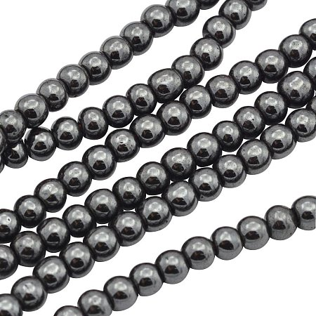 ARRICRAFT 10 Strands 4mm Black Round Non-Magnetic Hematite Beads Strands, About 102pcs/strand