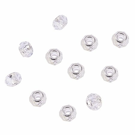 NBEADS 100Pcs Crystal Glass Charms, Faceted Lamp work Beads Large Hole European Charms Beads fit Bracelet Jewelry Making