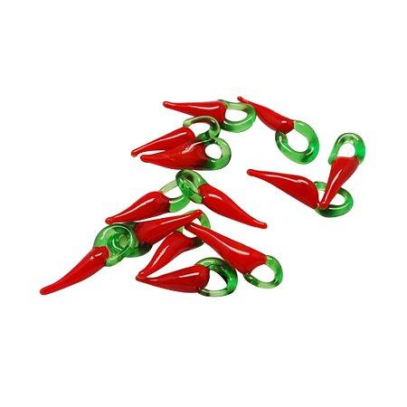 NBEADS 1000 Pcs Handmade Lampwork Pendants, Hot Pepper, Red, 21x8x5mm, Hole: 4mm