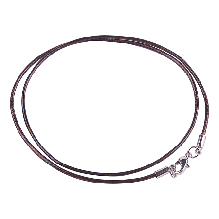 PandaHall Elite 0.06inch 1.5mm Brown Waxed Cotton Beading Cord with Zinc Alloy Lobster Claw Clasps for Necklace Making