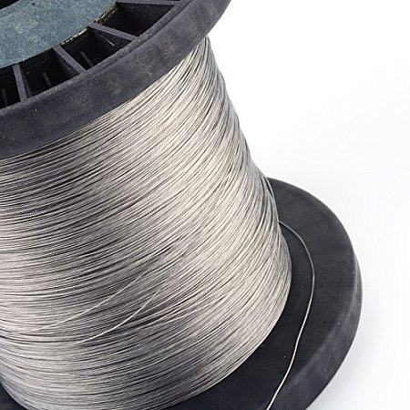 NBEADS 1000g 201 Steel Tiger Tail Wire, Silver, 1.0mm; About 300m/1000g