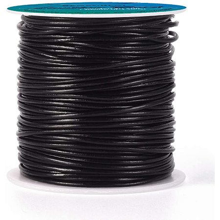 BENECREAT 50 Yards 1.5mm Round Genuine Leather Cord Black Leather Cord String for Bracelet Necklace Beading Jewelry Making DIY Crafts
