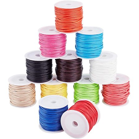 PandaHall Elite 12 Colors 11 Yards/Roll 1.5mm Waxed Polyester Cord Thread Beading String for Bracelet Necklace Jewelry DIY Craft Making Macrame Supplies, Totally 12 Rolls