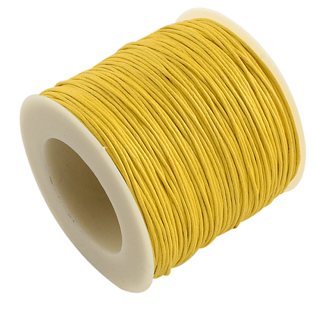 ARRICRAFT 1 Roll 1mm 100 Yards Waxed Cotton Cord Thread Beading String for Jewelry Making Crafting Beading Macrame Golden