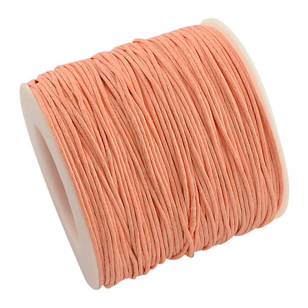 ARRICRAFT 1 Roll 1mm 100 Yards Waxed Cotton Cord Thread Beading String for Jewelry Making Crafting Beading Macrame Light Orange