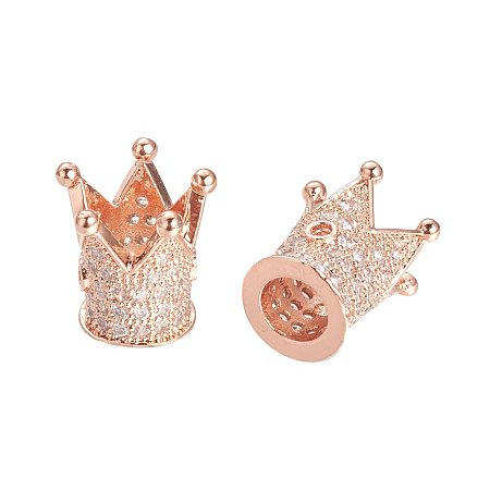 NBEADS 10PCS Cubic Zirconia Micro Pave King Crown Bracelet Connector Spacer Charm Beads Rose Gold Loose Beads for Bracelet Necklace DIY Jewelry Making Crafts Design