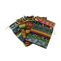 NBEADS 250 Pcs Ethnic Style Cloth Packing Pouches Drawstring Bags, Rectangle, Mixed Color, 14x10cm
