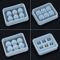 PandaHall Elite 4 Pieces Round Square Silicone Bead Molds with Holes Resin Jewelry Making DIY Craft Tools