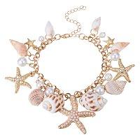ARRICRAFT Fashion Sea Shell Starfish Faux Pearl Collar Bib Statement Chunky Necklace