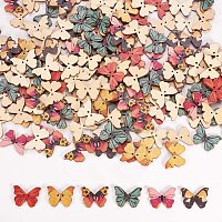 Arricraft 200pcs Butterfly Wooden Buttons 2-Hole Buttons Mixed Color Decorative Buttons for Crafts Scrapbooking Sewing Craft Decoration