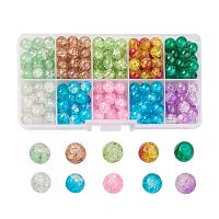 NBEADS Round Transparent Crackle Glass Beads, Mixed Color, 10mm, Hole: 1.3~1.6mm; about 100~105pcs/box