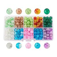 ARRICRAFT 1 Box (about 250pcs) 10 Color Handcrafted Crackle Lampwork Glass Round Beads Assortment 8mm Lot for Jewelry Making