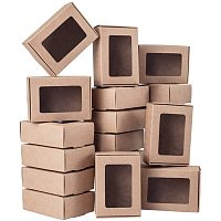 BENECREAT 30 Packs 3.3x2.3x1.1 Inches Rectangle Brown Kraft Paper Boxes with Clear Windows for Party Favor Treats, Bakery, and Jewelry Packaging