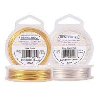 BENECREAT 2 Rolls 20-Gauge Tarnish Resistant Silver/Gold Coil Wire, 66-Feet/22-Yard in Total