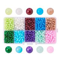 ARRICRAFT 1 Box (about 2000pcs) 10 Color 4mm Imitation Jade Crackle Glass Round Beads Assortment Lot for Jewelry Making