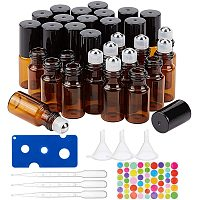 BENECREAT 30 Packs 3ml Mini Amber Brown Glass Roller Bottle with Black Cap Essential Oil Roll on Bottle with Opener, Hoppers, Droppers and Labels for Perfume Aromatherapy Fragrance