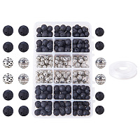 PandaHall Elite 200 Pcs Natural Round Black Lava Stone Beads with 100 Pcs Alloy Spacer Beads and 0.8mm Stretchy Beading Elastic Wire 10m per Roll for Jewelry Making