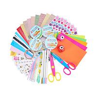 PandaHall Elite 1 Set Scrapbook DIY Photo Albums Supplies With Colorful Paper, Craft Punch, Scissors, Lace Tape, Decorative Sticker, Photo Corner Stickers, Pen