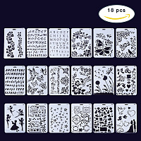 PandaHall Elite 18 Pack 7x10 Inch Plastic Planner Stencils for Journaling/Scrapbooking/Notebook/Diary/Card/Art - Bullet Journal Stencil DIY Projects Drawing Template Stencil