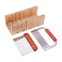 PandaHall Elite Adjustable Wooden Soap Cutter Mold with Wavy Straight Planer Blade Scraper Cutting Tool Set