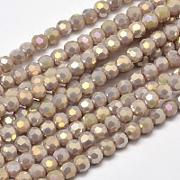 Arricraft Faceted Round Full Rainbow Plated Electroplate Glass Beads Strands, Thistle, 4mm, Hole: 1mm, about 100pcs/strand, 14.9 inches