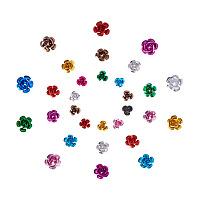 PandaHall Elite 600 Pieces Mixed Color 3-Size Aluminum Rose Flower Tiny Metal Beads Jewelry Making DIY Craft