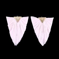 Raffia Tassel Big Pendants, with Brass Findings, Triangle, Golden, Pink, 76~79x55~56x5.5~6mm, Hole: 1.8mm