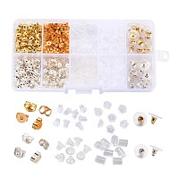 Jewelry Findings Sets, Ear Nuts/Earring Backs  Sets, Mixed Color, 3~5x2.5~6mm, Hole: 0.3~1mm; 740pcs/box