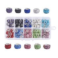 PH ARRICRAFT 1 Box About 100pcs 10 Color Polymer Clay Rhinestone European Beads with Silver Tone Brass Cores Large Hole Rondell Beads (11~12x7~7.5mm)