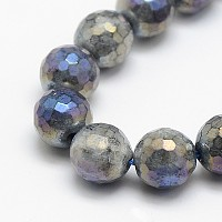 Electroplate Natural Labradorite Beads Strands, Round, Faceted, 8mm, Hole: 1mm; about 48pcs/strand, 15.5 inches
