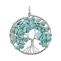ARRICRAFT 10pcs Tree of Life Pendant Gemstone Chakra Crystal Stone Pendant For Necklace Earring Jewelry Making