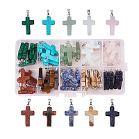 Pandahall Elite 10-Color Stone Cross Gemstone Pendants for Necklace Jewelry Making, about 50pcs/box