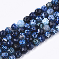 """NBEADS Natural Crackle Agate Beads Strands, Dyed, Faceted, Round, DarkBlue, 6mm, Hole: 1mm; about 63pcs/strand, 14.5"""""""