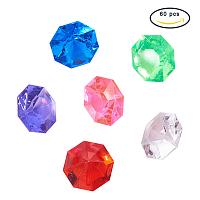 PandaHall Elite 60pcs Imitation Taiwan Imitation Taiwan Faceted Acrylic Gemstones Large Diamond Gems Cone Size 30.1x20mm for Event, Wedding, Vase Fillers, Crafts, Birthday Decoration Mixed Color