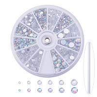 PandaHall Elite 1 Box Clear Faceted Flat Round No Hot Fix Acrylic Rhinestones Cabochons Glitter Diamond Gems Decorations with Rhinestones Picking Tools Pencil Pen for Cell Phone Nail Art