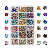 PandaHall Elite 900pcs Size 5x5x4mm Sew on Acrylic Rhinestone Faceted Montee Five-Hole Beads with Brass Base for Jewelry Making
