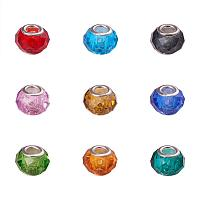 ARRICRAFT 100PCS 13x8mm Glass European Beads Large Hole Faceted Beads with Iron Silver Core, Mixed Color