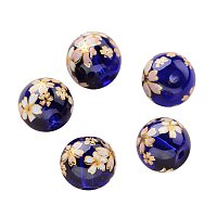 NBEADS 5PCS 10mm Dark Blue Glass Beads Charms, Flower Painted Round Loose Beads Spacer Beads for Jewelry Making and Craft