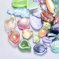 NBEADS Glass Pendants/Beads, Mixed Shapes, Mixed Color, 8~26x6~16x3~8mm, Hole: 1mm