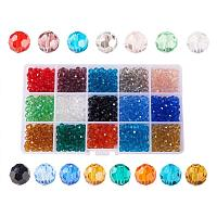 ARRICRAFT 1 Box (about 750pcs) 15 Color 6mm Briolette Faceted Crystal Glass Beads Assortment Lot for Jewelry Making