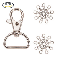 PandaHall Elite 20Pcs Platinum Alloy Swivel Lobster Claw Clasps with Snap Hook Size 42x25mm