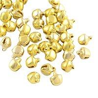 NBEADS 1000 Pcs Iron Bell Charms, Golden, 9.5x8x7mm, Hole: 1~2mm