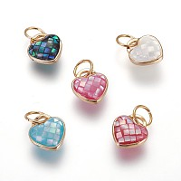 Brass Enamel Charms, with Freshwater Shell, Heart, Golden, Mixed Color, 11.5x10x5.3mm, Hole: 6x0.7mm